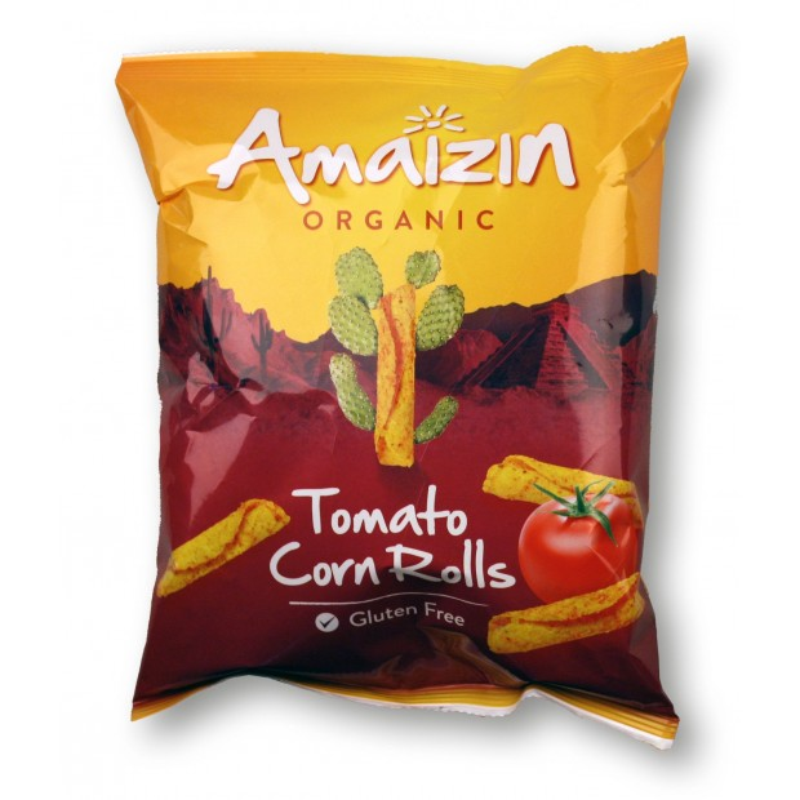 Chipsy kukurydziane rolls o smaku pomidorowym bezglutenowe BIO 75g AMAIZIN