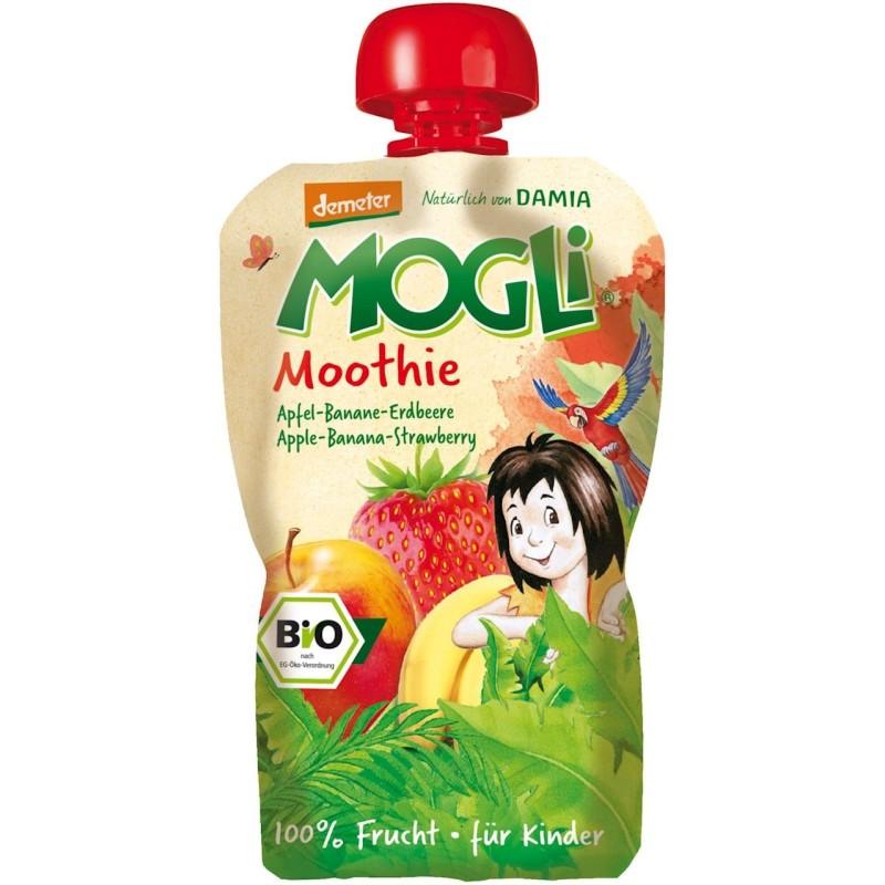Moothie - przecier jabłkowy z bananem i truskawką 100% owoców bez dodatku cukrów BIO 100g MOGLI