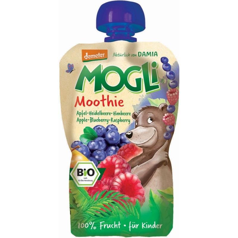 Moothie - przecier jabłkowy z bananem, jagodą i maliną 100% owoców bez dodatku cukrów BIO 100g MOGLI