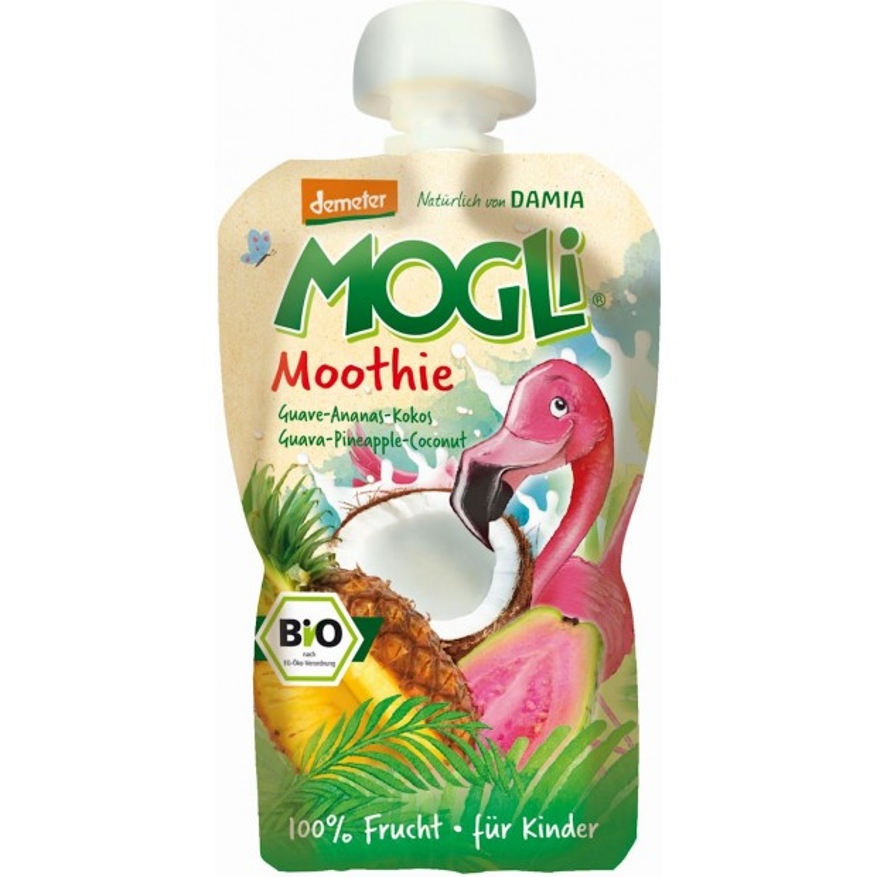 Moothie - przecier z guawą, ananasem i kokosem 100% owoców bez dodatku cukrów BIO 100g MOGLI