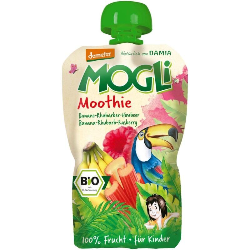 Moothie - przecier bananowy z rabarbarem i maliną 100% owoców bez dodatku cukrów BIO 100g MOGLI
