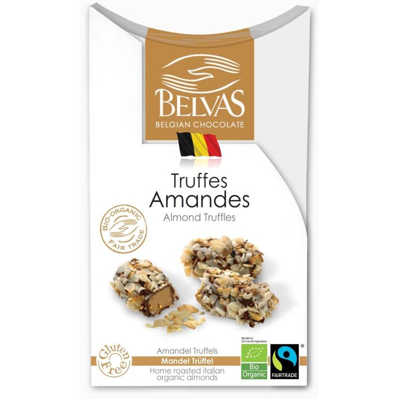 Belgijskie czekoladki truffle z migdałami bezglutenowe Fair Trade BIO 100g BELVAS