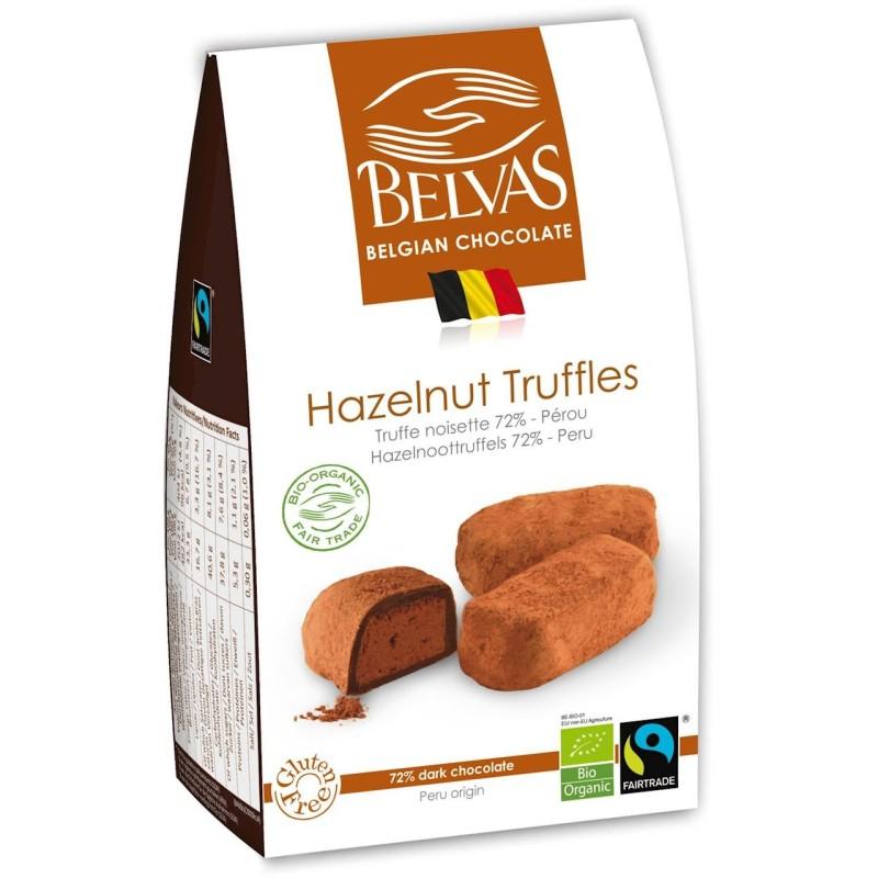 Belgijskie czekoladki truffle z orzechami laskowymi Fair Trade BIO 100g BELVAS