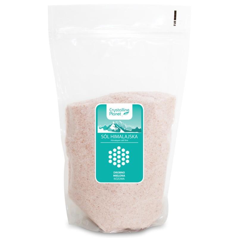 Sól himalajska różowa drobno mielona 1kg CRYSTALLINE PLANET