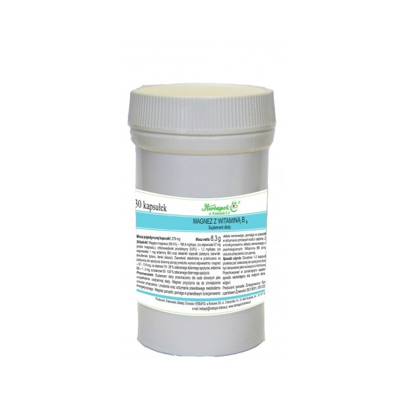 Magnez z witaminą B6 30 kaps. HERBAPOL