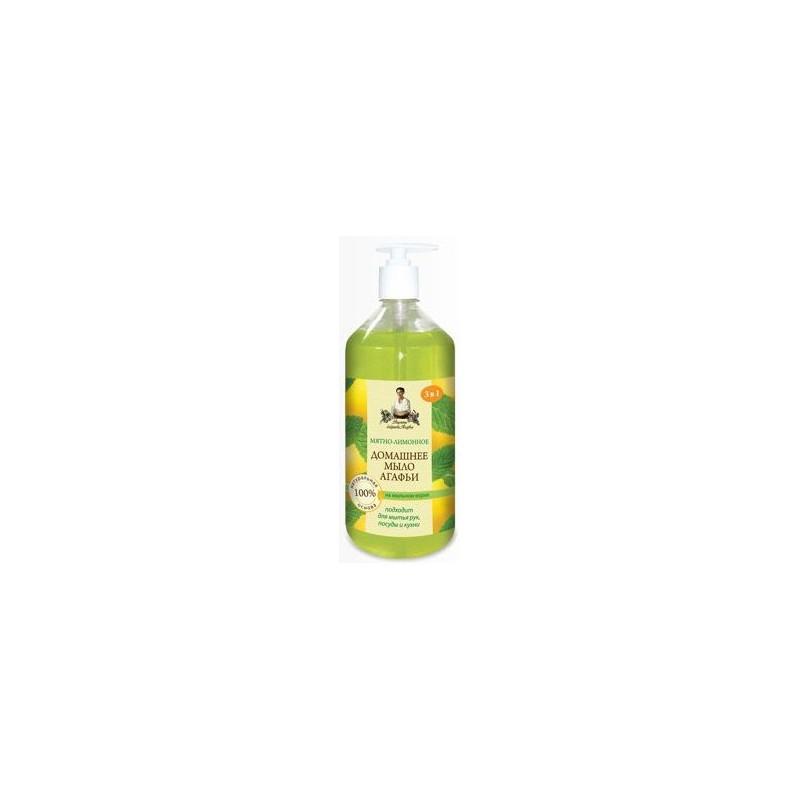 Mydło domowe - naturalne miętowo-cytrynowe z mydlnicą lekarską 1l RECEPTURY BABCI AGAFI