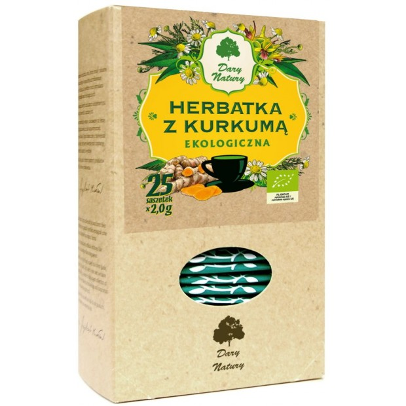 Herbatka z kurkumą bio 2gx25szt. DARY NATURY