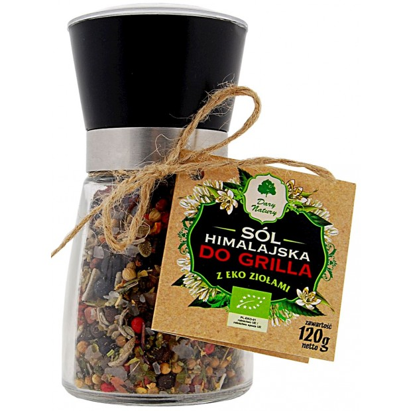 Sół himalajska w młynku z ziołami bio do grilla 120g DARY NATURY